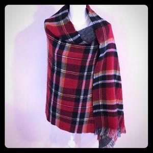 Reversible Holiday Plaid Fringed Blanket Shawl